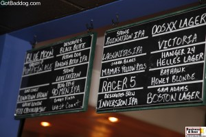 beer board at taco Cantina